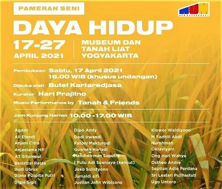 Pameran Seni Bertajuk Daya Hidup, Digelar Di Museum dan Tanah Liat -MDTL Jalan Kersan RT 05 Tirtonirmolo-Kasihan, Bantul, Yogyakarta, pada 17-27 April 2021